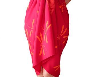 Dragonfly Batik Sarong Women's Clothing Beach Sarong Pareo Wrap Skirt or Dress - Raspberry Pink & Orange Sarong Dress - Swimsuit Cover Up