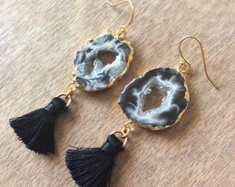 Agate druzy geode tassel earrings- electroplated- druzy- tassel earrings- druzy geode- agate slice-Valentines gift