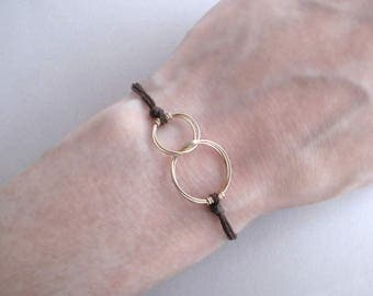 Two Circles Gold Rings Bracelet - Adjustable Size, Yellow Gold or Rose Gold
