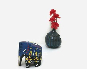 Vintage Wooden Elephant Figurine - Miniature Painted Elephant
