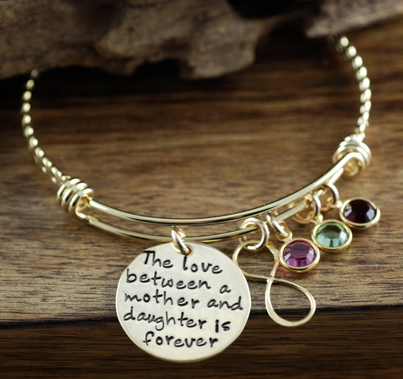 Love Between a Mother and Daughter is Forever, Personalized Bangle Bracelet, Mother & Daughter Bracelet, Infinity Bangle, Mother's Day Gift