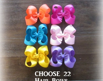 Girls Hair Bows, Bow Bundles, Classic Hairbows, Boutique Bows, Lot Set of 22 Bows, Bulk Bow sets, Big bows, Large Bows, Wholesale bows, 45g