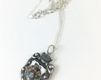 Brazil Necklace, Brazil Souvenir, Brazil Woman, Brazil Charm, Brazil Pendant, Brazil Spoon Necklace, Spoon Jewelry, Vintage Brazil