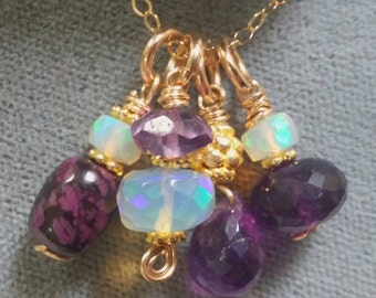 Multi Stone Necklace, Opal Necklace, Amethyst Necklace, Purple Stone Jewelry, Sugilite Pendant, Cluster Necklace, Gold Necklace, Artisan