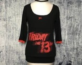 Friday 13th Women's T-Shirt // Reconstructed T-Shirt // Three Quarter Sleeve Top // Size Small // Horror Movie Gothic Alternative