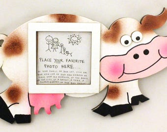 Cow Picture Frame - Hand Painted Wooden Frame
