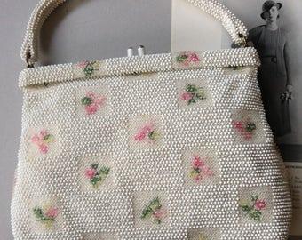 ON SALE:  Vintage Lumured Petite Bead Handbag, Beaded Embroidered Pink Rosebud Purse, 1950's Kiss Lock Handbag