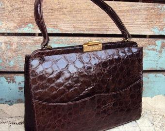 Vintage Mid Century Handbag Faux Alligator Skin Patent Leather Dark Brown Retro Kitsch Purse Brass Hardware 1950s 1960s Top Handle Tote