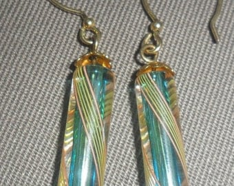 Blue teal and yellow specialty Czech glass dangle Earrings