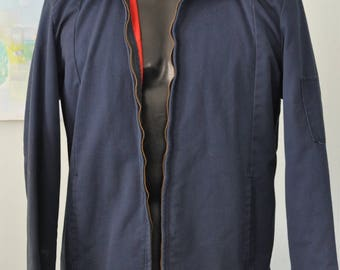 70s 80s Mechanic Jacket Faded Navy Blue Red Quilted Lining Sweet Work Coat MEDIUM