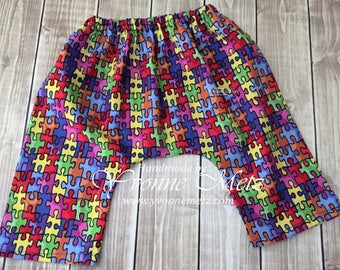 Puzzle Baby Pants, Karate Style pants, 0 - 3 month size, Autism Awareness,