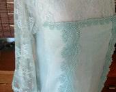 Vintage Jessica McClintock mint cotton Drop Waist Lace boho flapper Maxi dress M  L