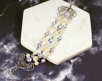Fera Bridal Bracelet, Bohemian Wedding Jewelry, Pearl Bracelet Cuff, Wedding Bracelet, Bridal Cuff, Filigree Bracelet, Bridal Jewelry