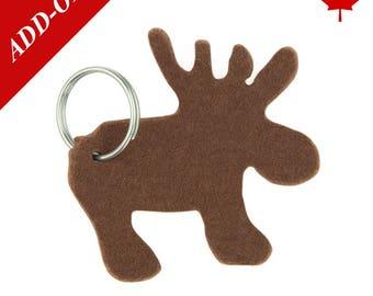 Moose Designer Wool Felt Keychains - Brown, 100% Wool, Canadian Moose, Add-On Item