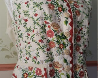 vintage embroidered waistcoat, embroidered vest, 18th century look, rococco waistcoat, victorian waistcoat, edwardian waistcoat