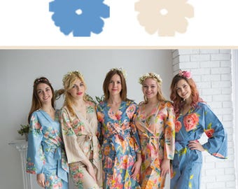 Dusty Blue and Champagne Wedding Color Bridesmaids Robes - Premium Rayon Fabric - Wider Belt and Lapels - Wider Kimono sleeves