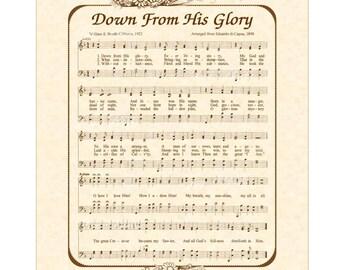 DOWN From HIS GLORY - Hymn Wall Art - Custom Christian Home Decor - VintageVerses Sheet Music - Inspirational Wall Art - Sepia Brown