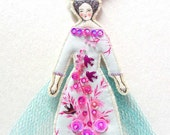 Fun Lady Flat Doll Ornament With A Bird Handmade Fabric Doll Decoration Embellished  Textile Art Doll Fabric Ornament