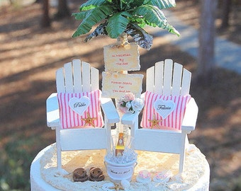 """Beach Wedding Cake Topper BASE ATTACHED Fits 6"""" Honeymoon Beverage And Bouquet Custom Made To Order Your Colors Personalized! Rustic"""