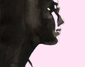 Let Me Be Free, pink & black edition, print from original watercolor and pen fashion illustration by Jessica Durrant
