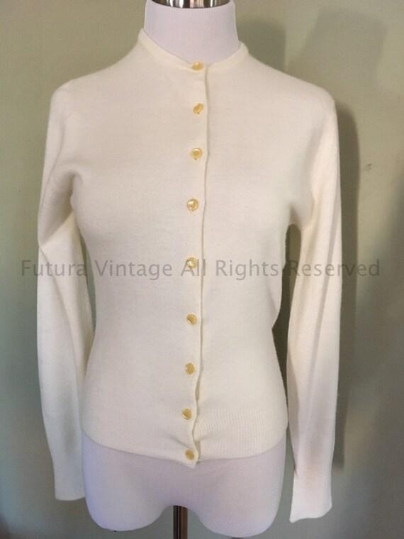 1950s TALBOTT for Doris M Ohler Cream Taralan Acrylic Orlon Cardigan Sweater-S M