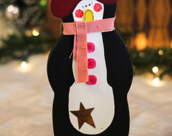 "Wooden Penguin 9"" - Merry Christmas - Wood Holiday Tabletop Decoration with Distressed Finish"