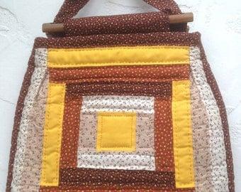 Handmade 70's CALICO Patchwork Handbag / Boho Chic FLORAL Calico PURSE / Groovy Yellow / Orange / Brown Calico Purse