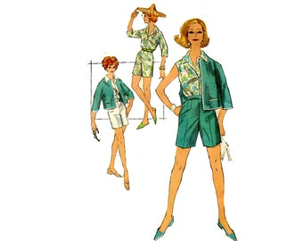 1960s Shorts, Top and Jacket Pattern Cropped Jacket Notched Collar Blouse High Waist Shorts Simplicity 3012 Bust 42 Vintage Sewing Pattern