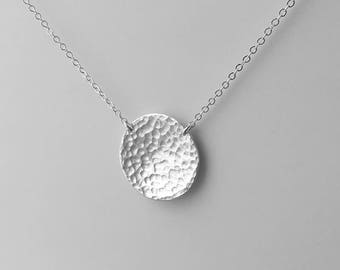 Hammered Silver Disc Necklace - Simple Circle Necklace - Sterling Everyday Jewelry