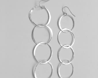 Statement Earrings - Long Earrings - Sterling Silver Earrings - Circle Chain Earrings - Extra Long Sterling Silver Dangle Earrings