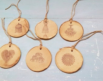 Handmade French Round Tags. 6 Rustic French Gift Tags. French Decoration.Tree Ornaments.  Large Round Tags. Primitive Aged Gift Tags.