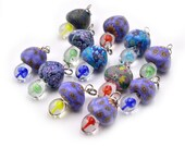 Glass Mushrooms, Fimo Cap, 12pcs, 25mm, Mixed Color,  Mushroom Pendant  -P352