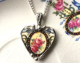 Broken china jewelry heart pendant beautiful pink roses, eco-friendly jewelry made from a recycled broken plate