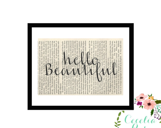 Hello Beautiful Inspirational Quote Vintage Framed Art Box Frame or Print Farmhouse Style