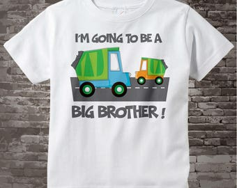 Personalized Big Brother Garbage Truck Tee Shirt or Onesie, I'm going to be a Big Brother with neutral sex baby truck 05262012a