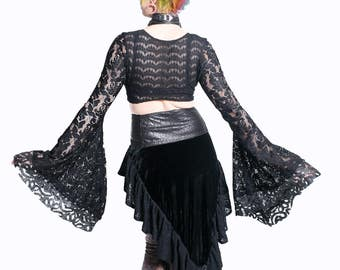 Made to Order Lace Victorian Bell Sleeve Shirt- Pick Your Colour- Lolita, Goth, Fairy, Festival, Burning Man, Hoop Dancer, Rave, Burlesque