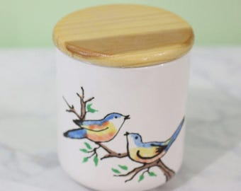 Love Birds on A Tree // Simple Kitchen Canister // Ceramic Home Decor