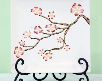 Sakura Blossom Tree Plate // Modern Square Ceramic Plate // Spring Time Serving Plate // Wedding Signature Plate