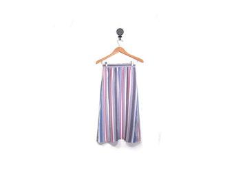 Vintage 80s Preppy Pastel Striped A Line Secretary Knee Length Skirt women xs s vestiesteam indie boho hipster pink purple gray vertical