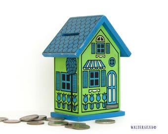 Vintage House Coin Bank - Retro Home Savings Bank - Wooden House Savings Box