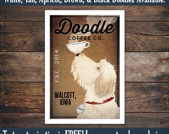 FREE CUSTOMIZATION Goldendoodle Labradoodle  Beer Wine Tea Martini Coffee & More Company Sign Archival Giclee Print