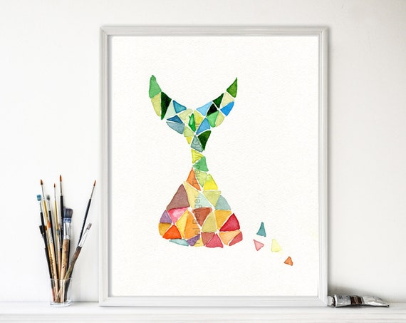 Art print, Time is Running print, abstract geometric art, colorful art, Modern print, contemporary art, watercolor print, modern art print