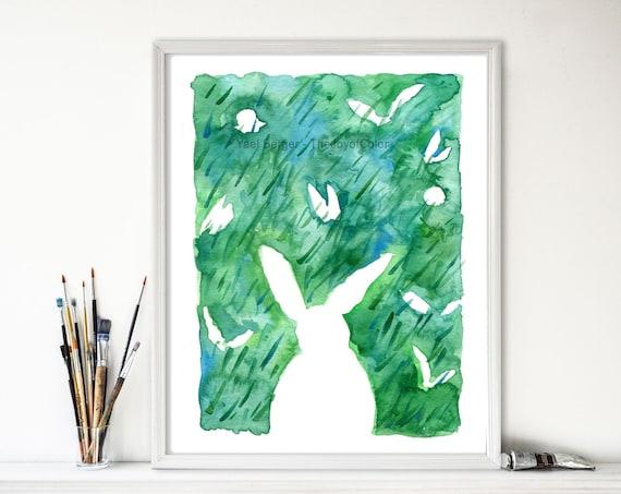 Rabbits art print, Rabbits playing seek and hide, print of original watercolor, Nursery decor, Easter art, nursery decor, animals art, green
