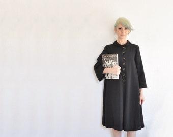 mid century noir black dress coat . short mod collar evening jacket .medium