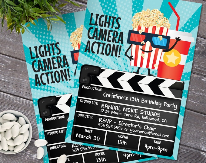 Movie Party Invitation - Movie Birthday Party Invite, Cinema Birthday - Editable Text - DIY Instant Download PDF Printable