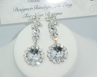 Rhinestone Chunky Crystal Pierced Earring Dangle Drop~ Wedding, Prom, Special Occasion