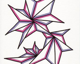 """Original freehand marker drawing by DeMaris - minimalist abstract art - contemporary modern design - hot pink and lavender """"Fresh Pink"""""""