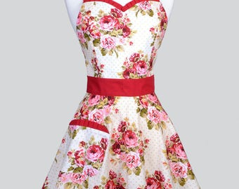 Sweetheart 50s Womens Apron . Red Roses on Ivory Retro Vintage Style Old Fashioned Pin Up Flirty Kitchen Cooking Apron with Fitted Bodice