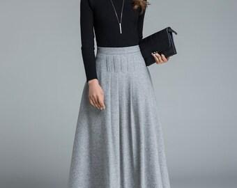 light grey skirt, wool skirt, winter skirt, pleated skirt, maxi skirt, classic skirt, plus size skirt, skirt for women, handmade skirt 1643