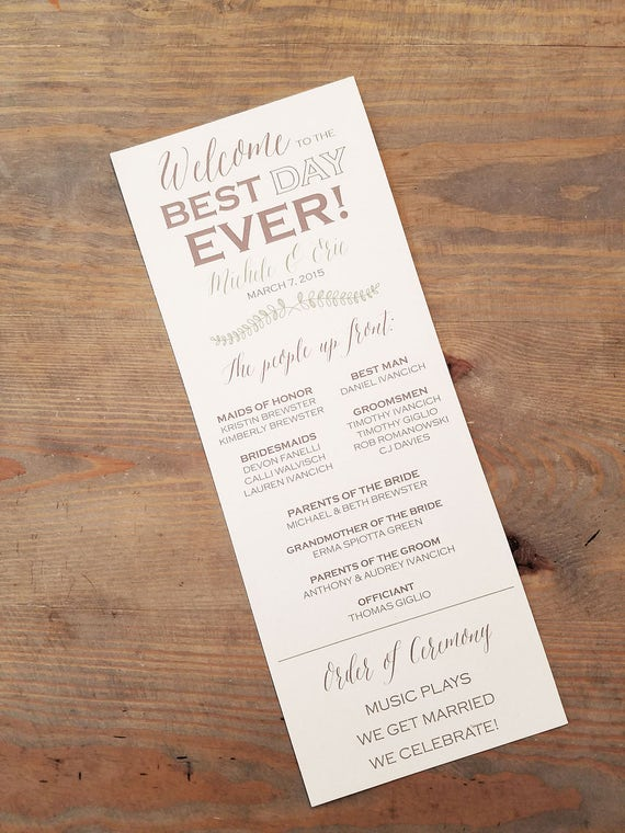 Best Day Ever Wedding Day Program, Wedding Program, Ceremony Program, Wedding Day Timeline, Wedding Schedule, Order of Ceremony, Rustic